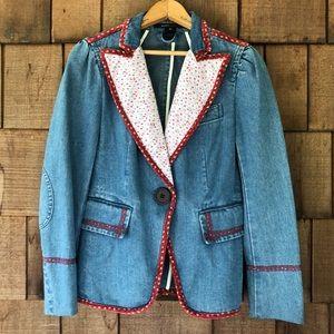 Marc Jacobs Denim Patchwork Blazer Jacket. Size 10